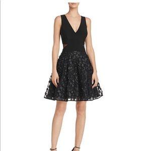 Aqua black floral fit and flare size 2 dress